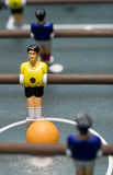 Foosball game close up vertical. Photo of entertaining foosball game table Stock Photos