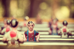 Foosball, old used table football Royalty Free Stock Images