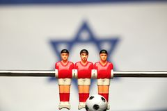 Foosball player table soccer stock photo