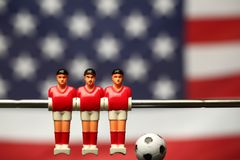 Foosball player table soccer stock photography