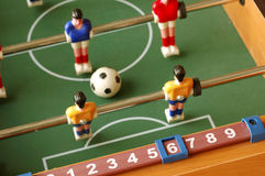 Foosball Soccer Game Table. Close-up photo of foosball soccer game table and score Stock Photography