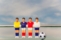 Foosball-Tabellenfußball-Fußballspieler-Sport teame stockfotografie