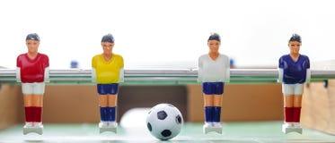 Foosball tabellfotboll fotbollsspelaresportteame Royaltyfria Bilder