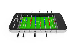 Foosball Table in Mobile Phone Stock Photo