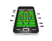 Foosball Table in Mobile Phone Royalty Free Stock Image