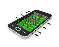 Foosball Table in Mobile Phone. Isolated on white background. 3D render Royalty Free Stock Image