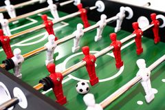 Foosball table soccer sport team football players.  royalty free stock photography