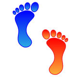 Foot. Illustration of two colored foots with a heavy outline Royalty Free Stock Photos