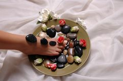 Foot. Pedicured foot, roses, and magnolias on silk cloth Stock Photography