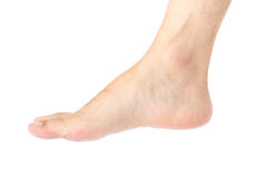 Foot. Bare male foot isolated on white royalty free stock photo