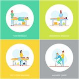Foot and Abdominal Back Massage Icons Set Vector. Legs and back care with hot stones method, chair for massaging body. Masseuses and happy clients royalty free illustration