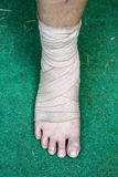 Foot and Ankle injured with bandage Royalty Free Stock Images