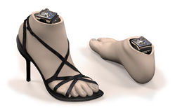 Foot-ankle prosthesis with shell Stock Photo