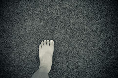 foot on artificial grass Royalty Free Stock Photo