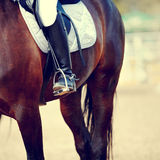 Foot of the athlete in a stirrup Stock Photos