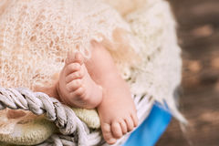 Foot of baby close up. Royalty Free Stock Photo