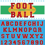 Foot ball font. English alphabet and number in american football style Royalty Free Stock Photo