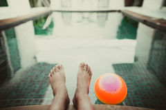 Foot ball with pool. In morninig Stock Images