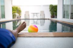 Foot ball with pool. In morninig Royalty Free Stock Image