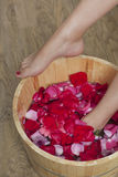 Foot bath with flowers in spa salon. A young woman enjoy foot bath with flowers in spa salon, indoors Stock Photography
