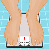 Foot on bathroom scale. Royalty Free Stock Photography
