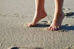 Foot on the beach stock photo