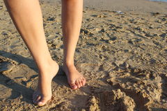 Foot in beach Stock Photography