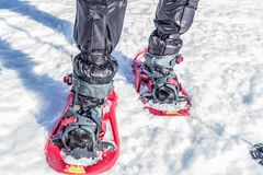 Foot with boots in snowshoes royalty free stock image
