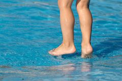 Foot boy in the pool.  Stock Photography