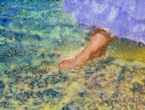Foot of the bride touches water in the sea Royalty Free Stock Images