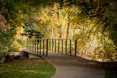 Foot bridge in a autumn city park Royalty Free Stock Image
