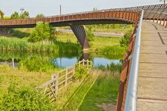 Foot bridge & cycle way over river Royalty Free Stock Photos