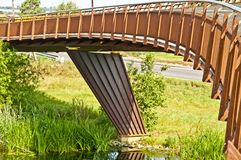 Foot bridge & cycle way over river Stock Photos