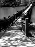 Foot Bridge At The Lake. A charming foot bridge crossing over a lake. Image is in black & white Stock Photography