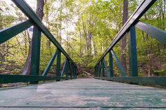 Foot Bridge Low Angle. Wooden Footbridge in forest of New Jersey along hiking trail in early summer stock photo
