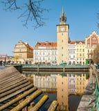 Foot bridge of Novotny and Bedrich Smetana museum Stock Photography