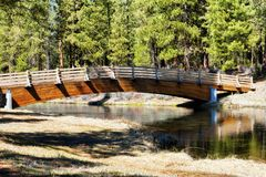 Foot Bridge over Spring Creek. Foot bridge crossing over Spring Creek at Collier Memorial State Park in Chiloquin, Oregon royalty free stock photos