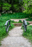 Foot Bridge. Picture taken at Rifle Falls State Park in the State of Colorado stock image