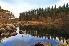 Foot bridge and pine trees reflected in Llyn Mymbyr Capel Curig Snowdonia Stock Image