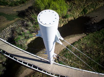 Foot bridge pylon in Arvada Stock Photos