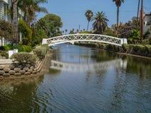 Reflection of foot bridge in Venice beach, California stock photo