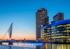 Foot bridge at Salford quays at BBC Media city in Manchester Royalty Free Stock Image
