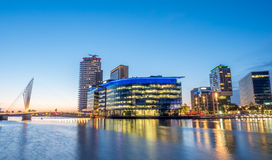 Foot bridge at Salford quays at BBC Media city in Manchester Stock Photography