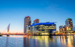 Foot bridge at Salford quays at BBC Media city in Manchester Stock Image