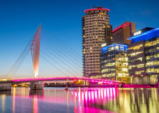 Foot bridge at Salford quays at BBC Media city in Manchester Royalty Free Stock Photo