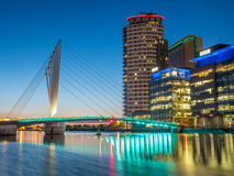 Foot bridge at Salford quays at BBC Media city in Manchester Stock Photo