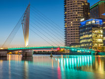 Foot bridge at Salford quays at BBC Media city in Manchester Royalty Free Stock Photos
