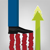 Foot of businessman tread commerce chart Royalty Free Stock Photo