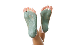 Foot Care. Mud treatment. Stock Photo