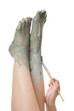 Foot Care. Mud treatment Stock Photos